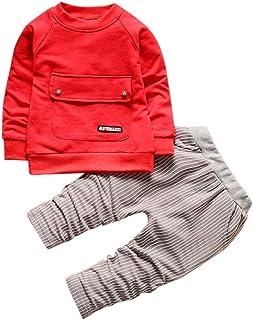 Kobay Kleinkind Kinder Baby Jungen Mädchen Outfits T-Shirt Tops + Streifen Lange Hosen Kleidung Set