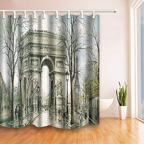 CDHBH Gris Arc de Triomphe en Peinture 180,3 x 180,3 cm Résistant aux moisissures Rideau de Douche en Tissu en Polyester de Fantastique Décorations de Bain Rideau