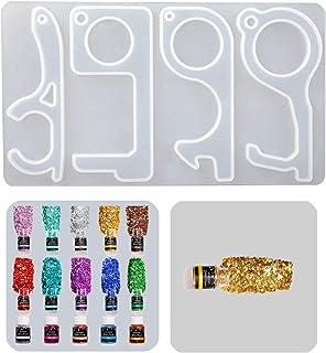 Herramienta de llave de mano libre iSuperb 2 Pack Resina Moldes para Resina Epoxi manijas de puerta y equipo public 2 Pack utilizada para botones de ascensor Resin Mold