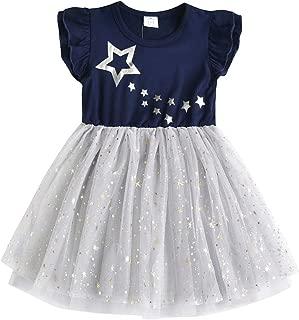 Toddler Girls Summer Dresses Short Sleeve Tutu Dress for 2-8 Years Girls