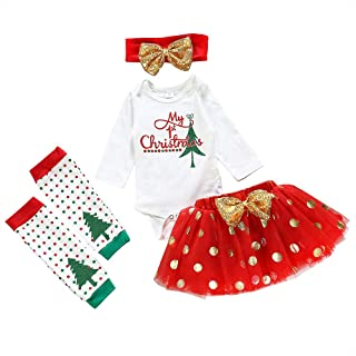 Vedext 4Pcs Newborn Baby Girl Clothes My 1st Christmas Bodysuit+Dot Tutu Skirt+Leg Warmers+Sequins Bow Headband Outfits Set