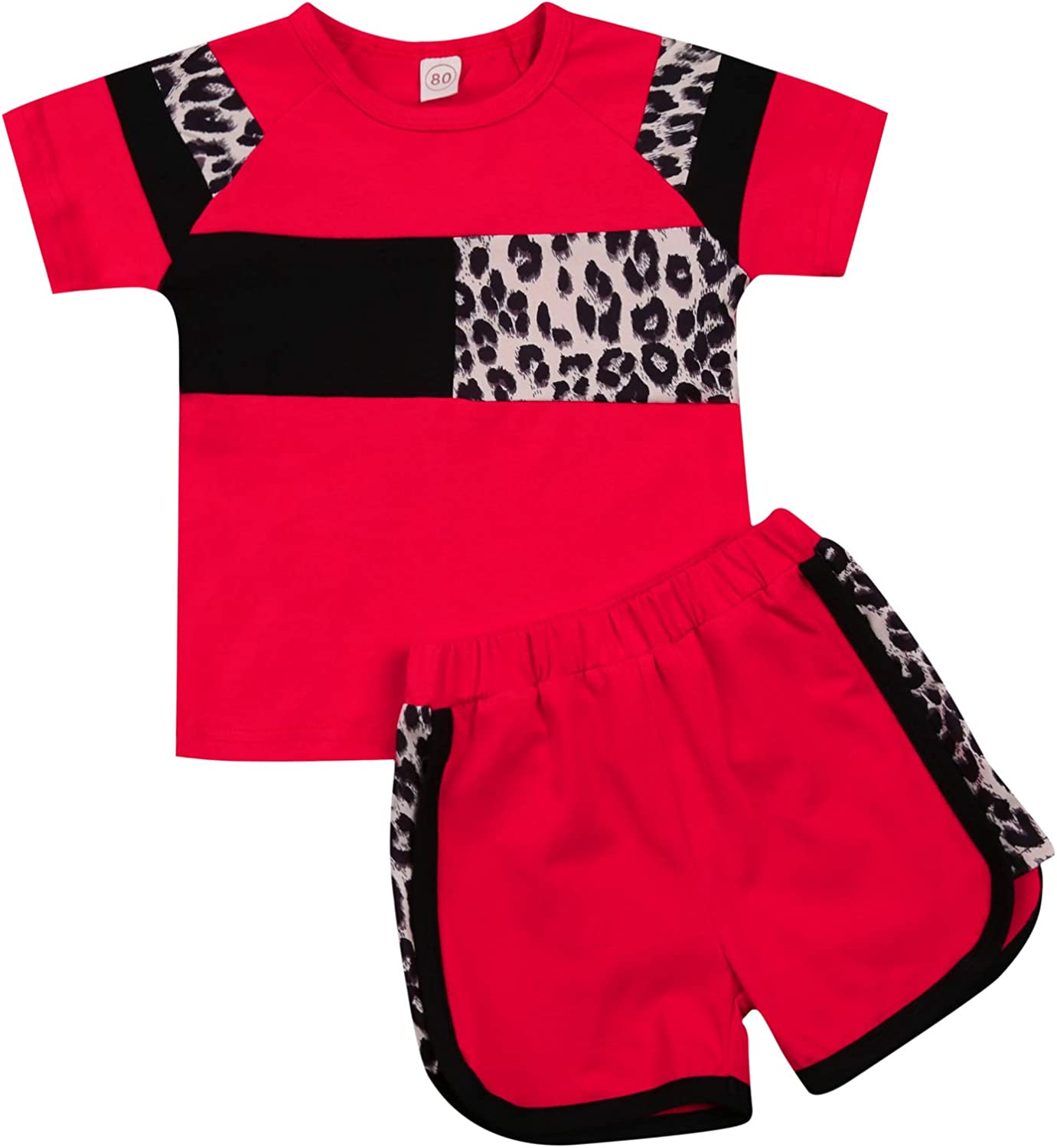 Toddler Girl Clothes Summer Outfits 2pcs, Leopard Short Sleeve T