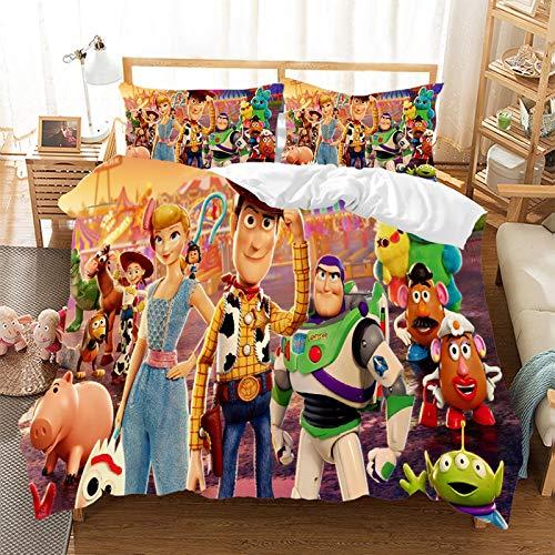 Juego de ropa de cama de Toy Story 4, microfibra, reversible, funda nórdica y funda de almohada,...