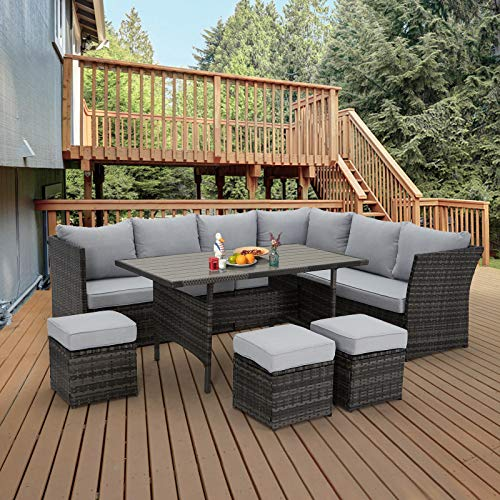 U-MAX 7 Piece Outdoor Patio Furniture Set, PE Rattan Wicker Sofa Set, Outdoor Sectional Furniture Set with Dining Table,Gray