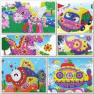 Toyvian 6pcs Bambini Adesivi Fai da Te Mosaico Creativo Cartone Animato Eva Mosaico Adesivo Giocattoli Artigianali educativi