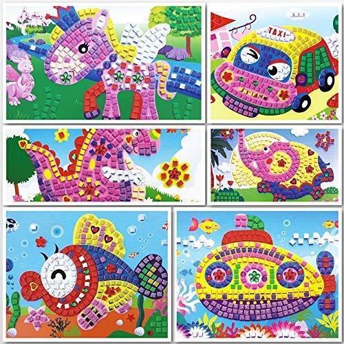 mejores Mosaicos para niños Lizipai Arte de la Etiqueta engomada de Mosaico para niños Puzzles Hechos a Mano Kits de Arte Ángel Coche Barco Animales - 6 imágenes Diferentes