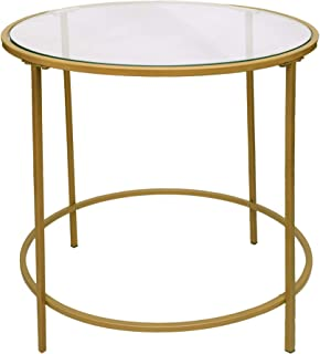 TUP The Urban Port 22 Inches Contemporary Style Round Metal Framed End Table with Glass Top, Gold and Clear