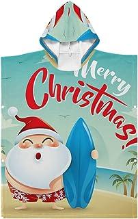 LENNEL Toalla de Playa con Capucha Duradera para niños Albornoz de baño Suave Capa Santa Claus de Vacaciones para la Piscina Parque de Aguas Termales Algodón 27.55x27.55 Pulgadas