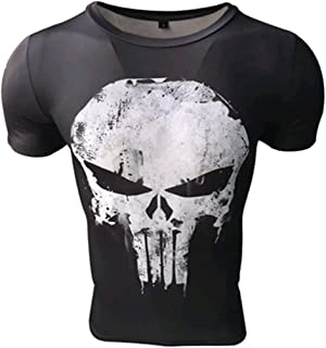 Camiseta compresiva Hombre de Licra para Deporte. Manga Corta ceñida de Licra. (Castigador)
