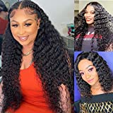 Brazilian Virgin Deep Curly Wave 4X4 Lace Closure Wigs Human Hair 150% Density 10A Pre-plucked Bleached Knots Remy Human Hair Wet and Wavy Wigs Baby Hair