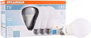 SYLVANIA General Lighting 74427 Sylvania Dimmable Led Light Bulb, 12 W, 120 V, 1100 Lumens, 3500 K, CRI 80, 2.375 in Dia X 4.42 in L, Bright White, 4 Piece