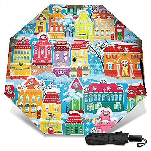 LYYNBLA Coloridas casasCompact Manual Abrir/CloseTrifold Viaje Anti-Uv,Impermeable al aire libre Sombrilla Paraguas Rain&Sun, Impresión exterior, Taille unique