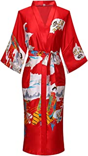 Old-to-new Women's Long Kimono Robe Lightweight Silk Bathrobe Nightgown with Pockets