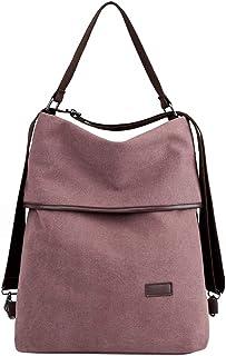 PB-SOAR 3-in-1 Damen Vintage Canvas Tasche Rucksack Handtasche Schultertasche Rucksackhandtasche Tragetasche Freizeittasche Vielseitige Tasche Dunkel Lila