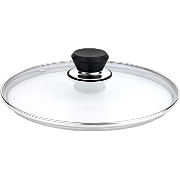 """GOURMEX Tempered Glass Cookware Lid with Stainless Steel Rim and Black Handle To Fit Pots, Frying Pans and Skillets, Equipped with Vent Hole, Dishwasher and Oven Safe, Heat Resistant (7.9"""")"""