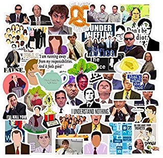 The Office Stickers[50pcs] Funny Quote Waterproof Vinyl Stickers Pack with Michael Dwight Jim Dunder Mifflin Stickers for Hydro Flasks Water Bottles Laptop Notebook Computers Guitar Bike Helmet Car