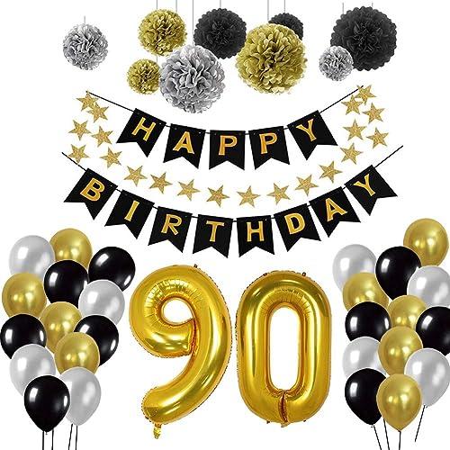 Yoart Birthday Decorations 90th Happy Banner 9 Tissue Paper Pom Poms Hanging Swirl