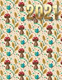 2021 Planner: Mushroom Butterfly Pattern in Earth Tones / Daily Weekly Monthly / Dated 8.5x11 Life Organizer Notebook / 12 Month Calendar - Jan to Dec ... Cover / Cute Christmas or New Years Gift