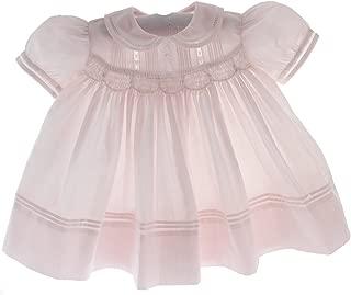 Newborn Girls Pink Smocked Take Home Dress