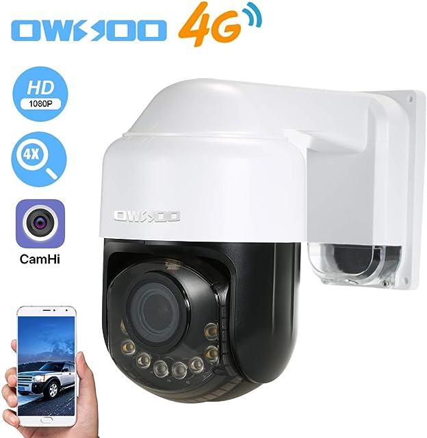 OWSOO 1080P Cámara IP 4G Lente de Zoom Óptico 2.8-12 mm Soporta 4G/GSM Network PTZ Alarma de Movimiento Control de Phone Audio Bidireccional Vision Nocturna Ranura para Tarjeta TF Impermeable