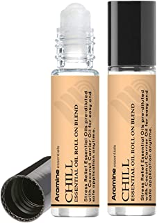 Chill (Stress Reducer and Relaxation) Essential Oil Roll On, Pre-Diluted 10ml (1/3 fl oz) 2 Pack