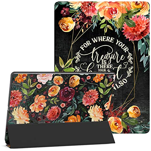 Mertak Case Compatible with iPad Pro 11 2020 12.9 2019 2018 Air 3 2 10.2 8th 7th Gen Mini 5 4 10.5 inch 9.7 Flowers Christian Clear Matthew 6:21 Scripture Bible Verse Smart Cover Quote Protective