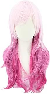 Topcosplay Women and Girls Wig Pink Red Gradient Long Wavy Anime Cosplay Lolita Wig Halloween Costume Wigs