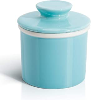 Sweese 305.102 Porcelain Butter Keeper Crock - French Butter Dish - No More Hard Butter - Perfect Spreadable Consistency, Turquoise