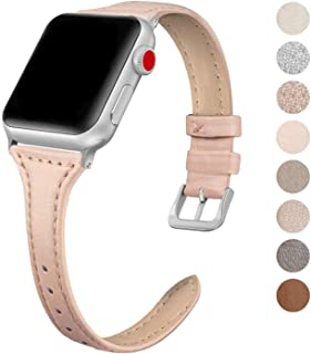 SWEES Leather Band Compatible for Apple Watch iWatch 38mm 40mm, Slim Thin Dressy Genuine Leather Strap Compatible iWatch Series 5 Series 4 Series 3 Series 2 Series 1 Sport Edition, Sand Pink