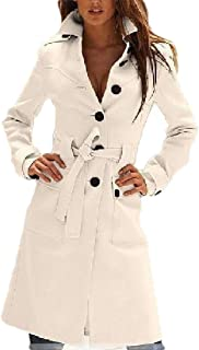 Howely Womens Fall Winter Mid Long Single Button Tunic Trench Coat Jacket
