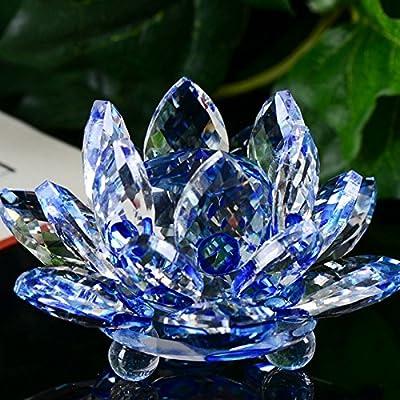 Fine Crystal Sparkle Lotus Flower Feng Shui Home Decor,Lotus Crystal Candle Holder, Colorful Crystal Glass Lotus Flower Decor Collection (A)