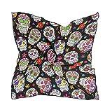 ALARGE - Bufanda cuadrada de seda, diseño de calavera con flores mexicanas, protector solar, ligero y suave, bufandas, chal envolvente, para mujeres y niñas
