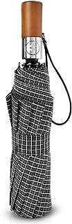 MissZZ Hommes Automatique Ouvert Fermer Parapluie Pliant Poignée en Bois Compact Portable Hommes d'affaires Golf Parapluie...
