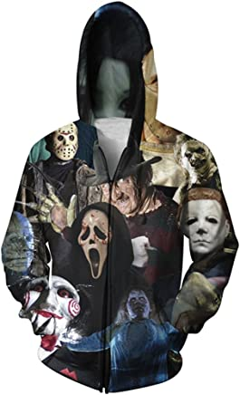 Yuehen Horror 3D Zipper Hoodies Men Women Long Sleeve Autumn Winter Pullover Hoody Tops Casual Outwear