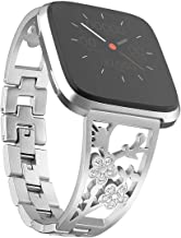 Mtozon Stainless Steel Bands Compatible with Fitbit Versa 2/Versa Lite/Versa for Women, Luxurious Bling Bracelet with Rhinestone Metal Wristbands, Silver Rose Gold Black