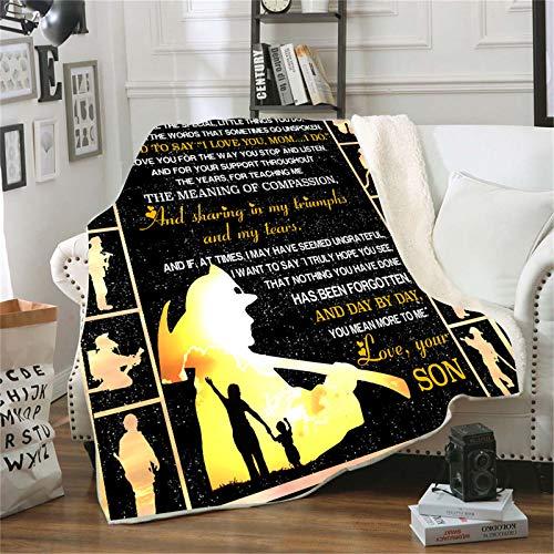 ACJIA Tiro de Espesado Manta para mi mamá, Letra 3D Impresa Manta Hijo para mamá Air Mail Manta,150 * 130cm