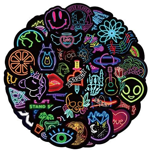 PRETTYSUNSHINE Aufkleber Pack 50 Stück, Neon Graffiti Stickers Decals, Trendy Wasserdicht Vinyl Stickers für Laptop Koffer Helm Motorrad Skateboard Auto Fahrrad MacBook