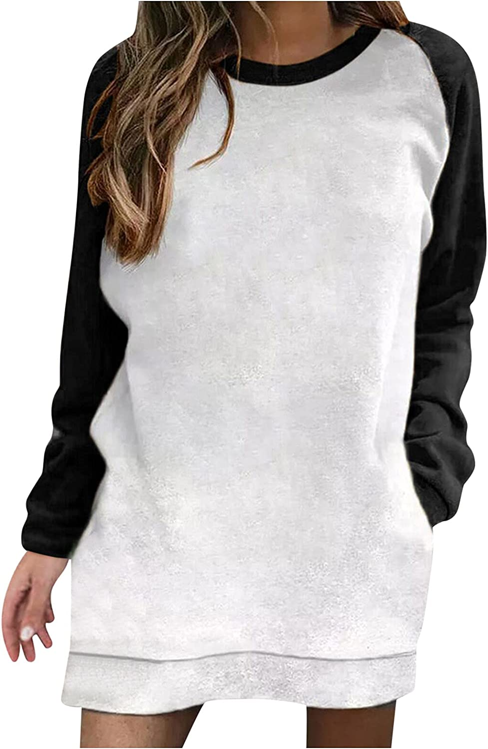 Aiouios Lightweight Sweatshirts for Women Graphic Solid Color Long Sleeve Splicing Pullover Casual Crewneck Blouses Tops