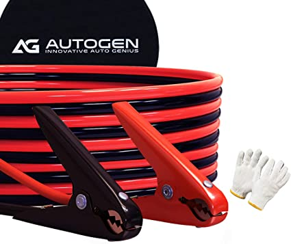 AUTOGEN Jumper Cables, 2 Gauge 25 Feet 800A Heavy Duty Booster Cables with Professional Grade Clamps and Carry Bag - 2AWG x 25Ft: image