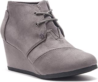 Corlina Women's Fashion Casual Outdoor Low Wedge Heel Booties Shoes Lace up Close Toe Ankle Boots