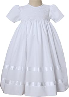Hand Smocked White Girls Communion Dress, Baby Christening Gown