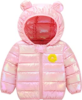 Ommda Dziecięca dziewczęca zimowa ciepła puszysta kurtka z kapturem maluch odzież wierzchnia pikowana kurtka