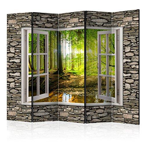 murando Raumteiler Fensterblick Fenster Landschaft Foto Paravent 225x172 cm einseitig auf Vlies-Leinwand Bedruckt Trennwand Spanische Wand Sichtschutz Raumtrenner Home Office grün beige c-C-0084-z-c