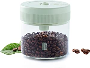 Bgest Vacuum Food Storage Container With Spoon, One-Click Automatic Exhaust Vacuum Coffee Canister, Clear Glass, 17 FL OZ, Airtight Seal Glass Storage Jar for Coffee Bean & Tea (500ML)