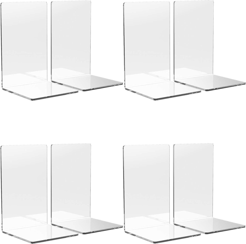 Fees free WUWEOT 8 Pack Acrylic Bookends Stopper Book Weekly update Organ Clear Desktop