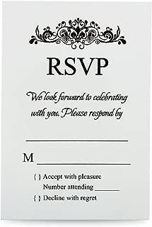 Doris Home 50 pcs/lot Ivory RSVP Cards with White envelopes for Wedding Invitations(50, Ivory)