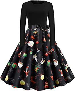 LENXH Women's Print Long Sleeve Dress Christmas Long Sleeve Skirt Fashion Stitching Beach Dress Simple Dress