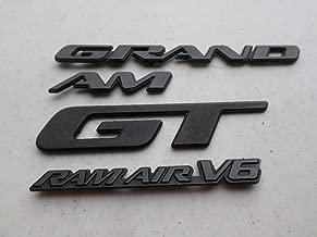 97-01 Pontiac Grand Am Ram Air V6 Side Door Fender Black Emblem 22619420 Logo Nameplate Sticker Set of 4