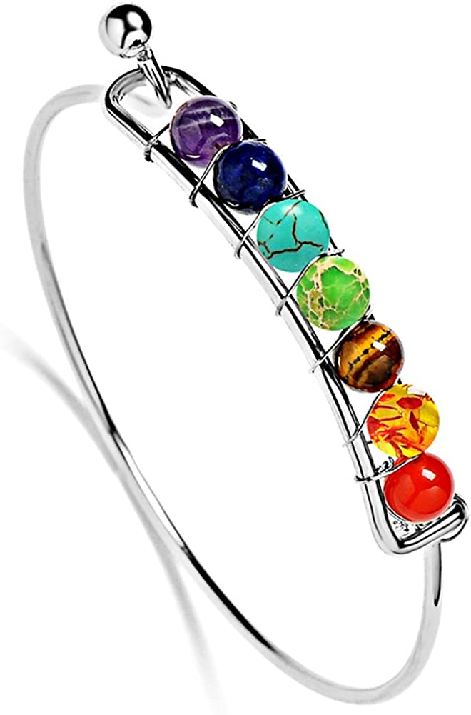 Jauxin 7 Chakras Stone Bracelet Handmade Healing Energy 6mm Beads Cuff Bangle