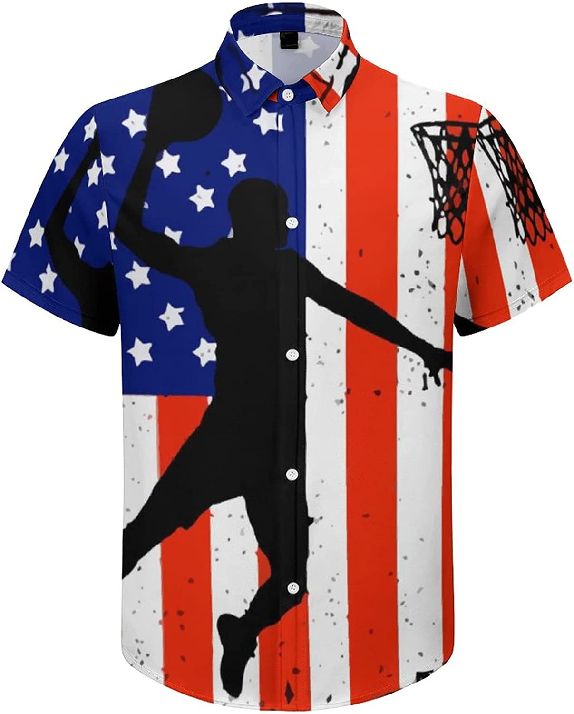 Men's Regular-Fit Short-Sleeve Printed Party Holiday Shirt American Flag Basketball